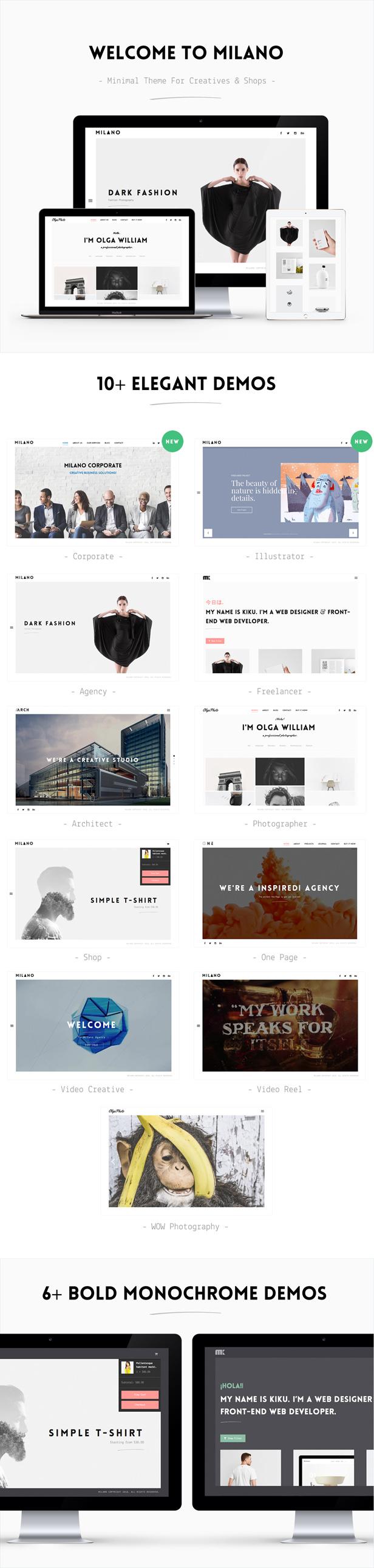 Milano - Creative Minimal Portfolio & Photography WordPress Theme