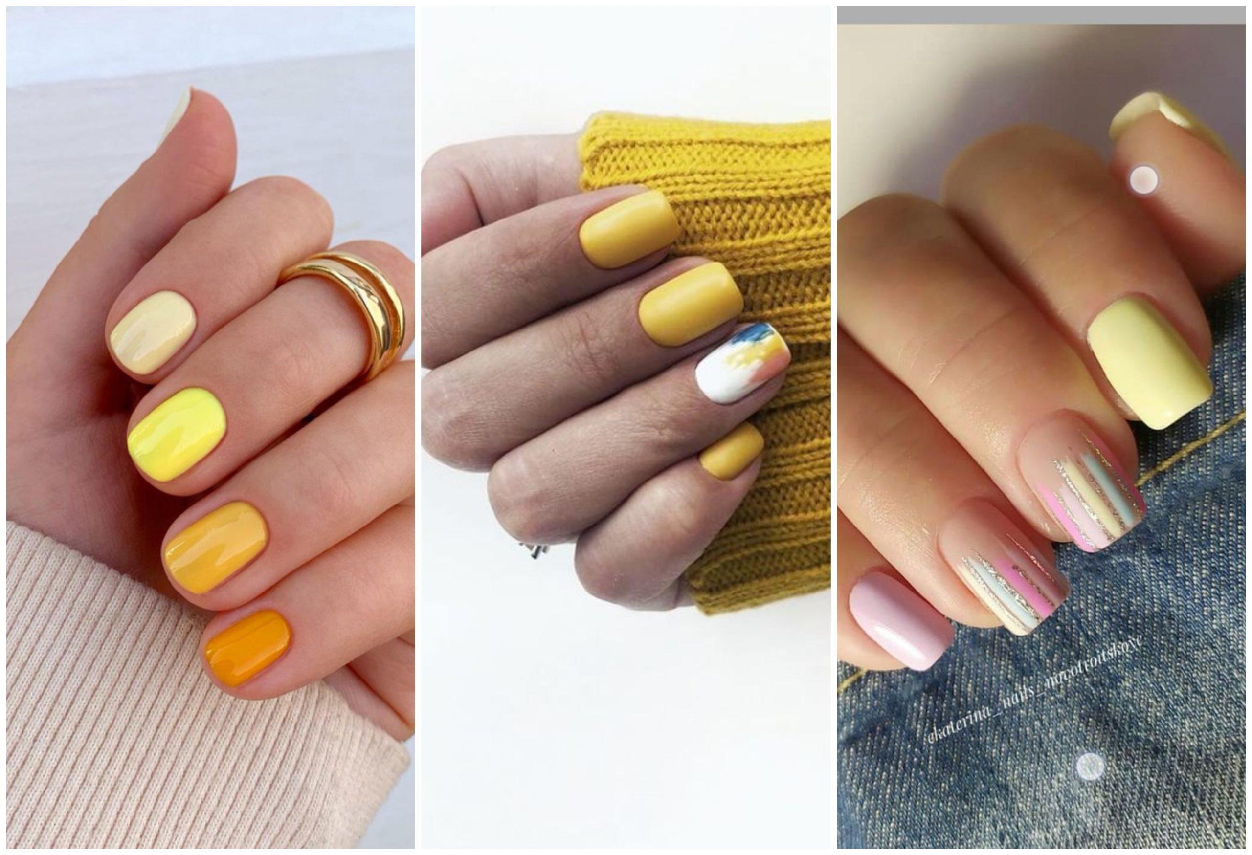 Diseños de uñas en color amarillo pastel