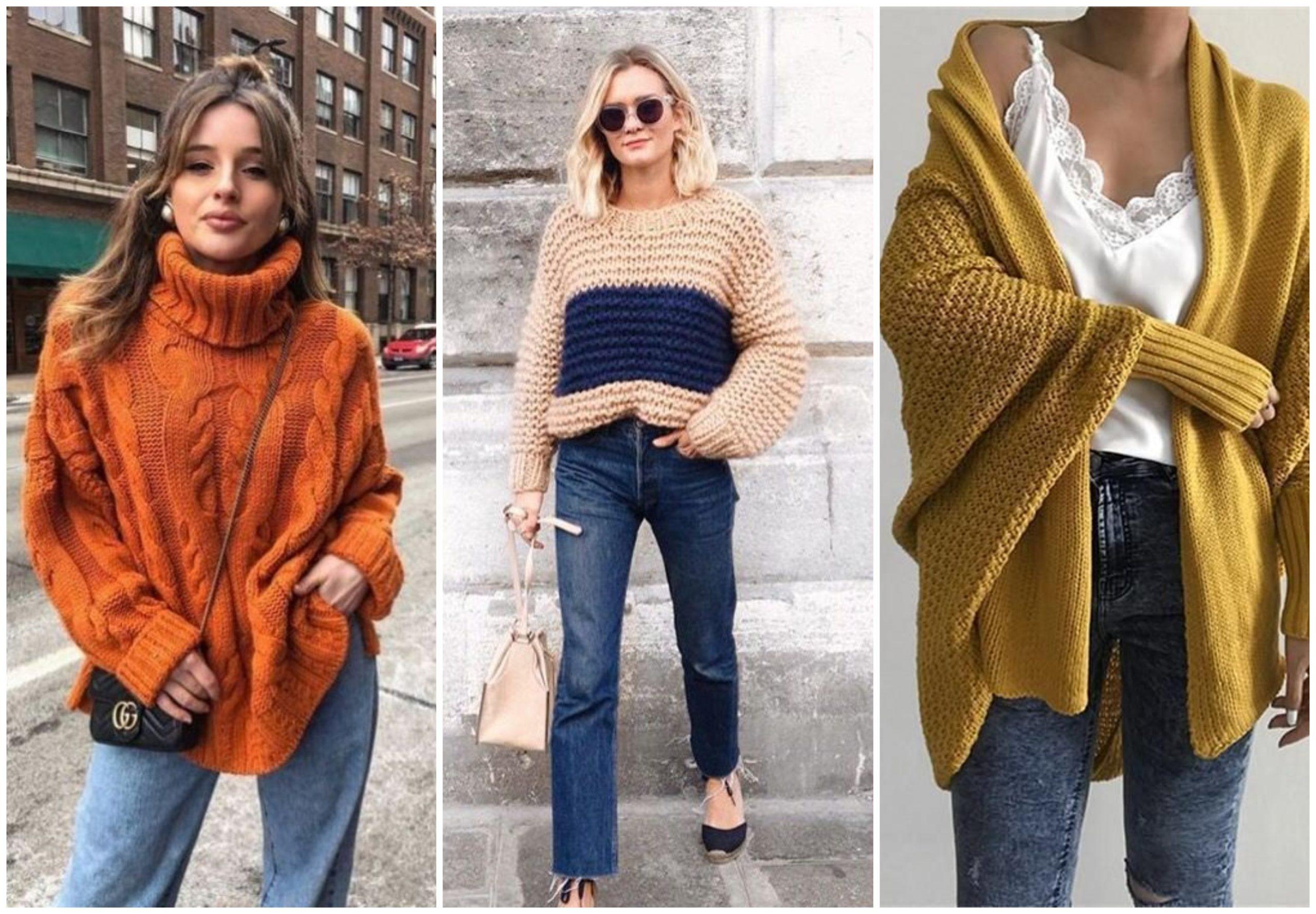 Outfits con suéter tejido perfectos para días fríos y lluviosos