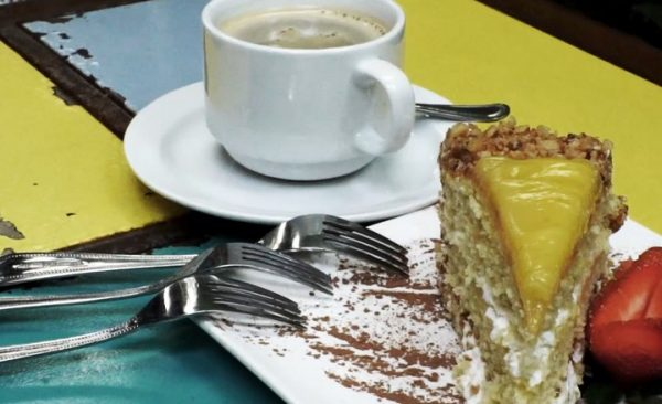 pastel, postre, fresa, café