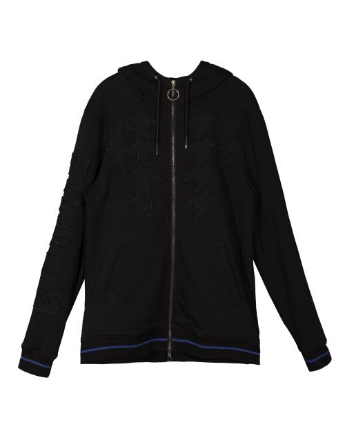 Konus Zip Up Hoodie with Houndstooth Applique