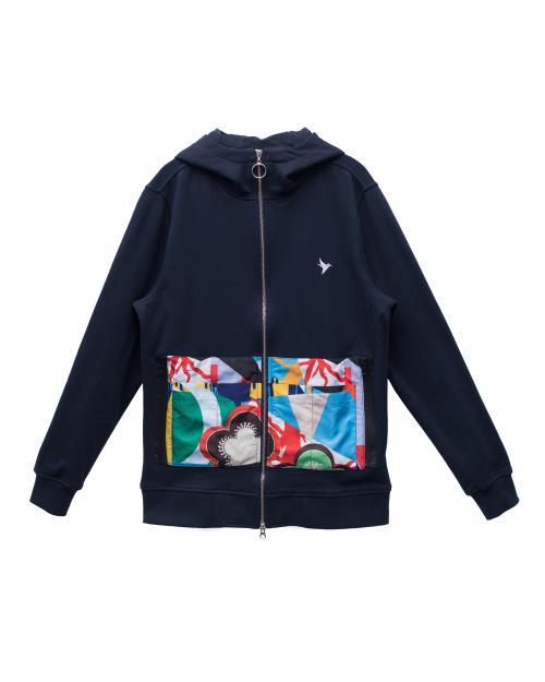 Zip Up Hoodie with Contrast pocket