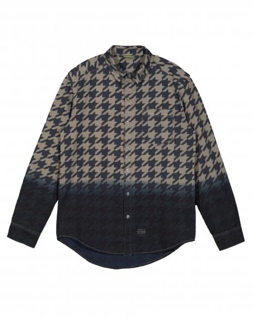 Konus Long Sleeve Dip Dye Houndstooth Shirt