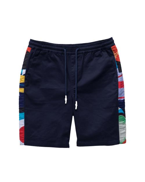 Drawstring Twill Shorts with Contrast Printed Fabric on Side Seam