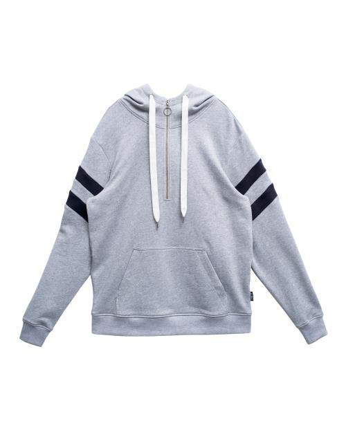 Half Zip Pullover Hoodie with Contrast Color Stripes