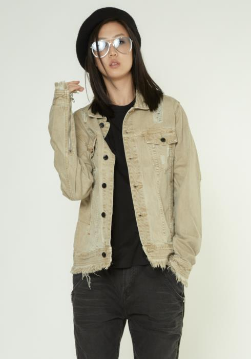Konus Heavy Denim Trucker Jacket with Frayed Cuffs and Hem