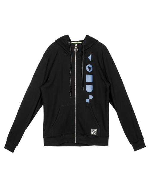 Konus Mock Neck Zip Up Hoodie with Logo Print