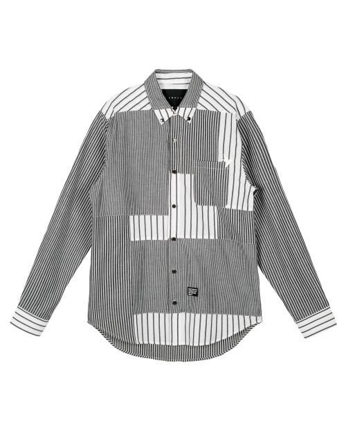 Patched Long Sleeve Button Down Shirt