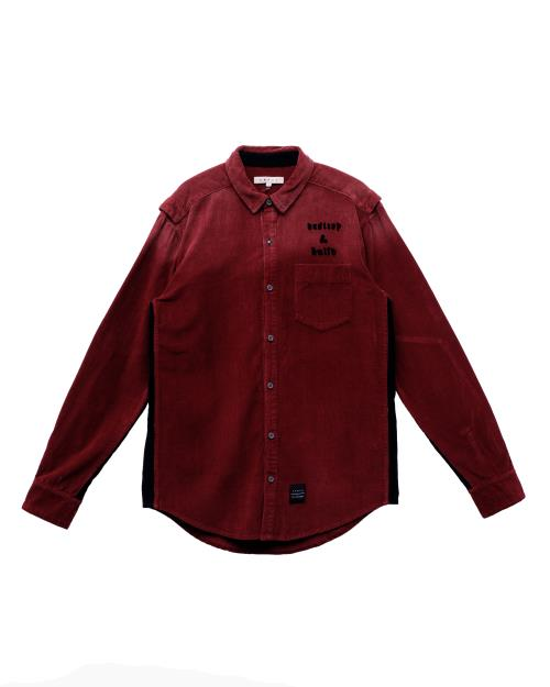 Konus Corduroy Button Up Shirt with Elbow Detail