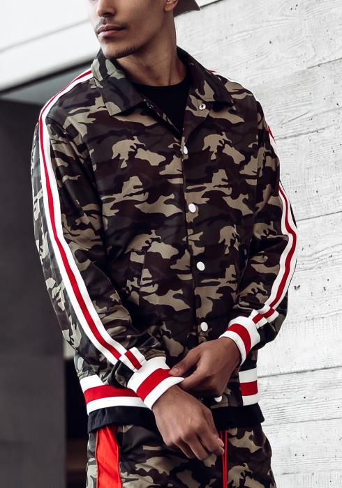 Blank State Collared Camo Track Jacket with Stripe