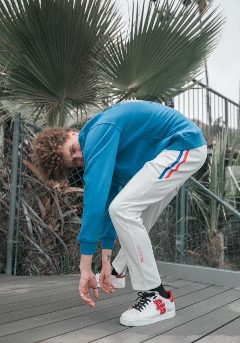 Konus Track Pants with Stripe Knit Tape on Sides / Aston