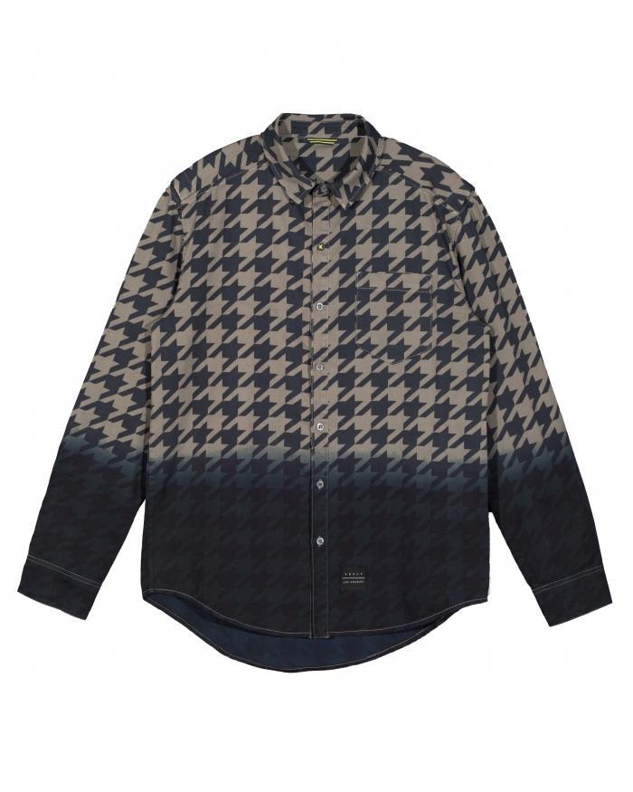 Konus Long Sleeve Dip Dye Houndstooth Shirt