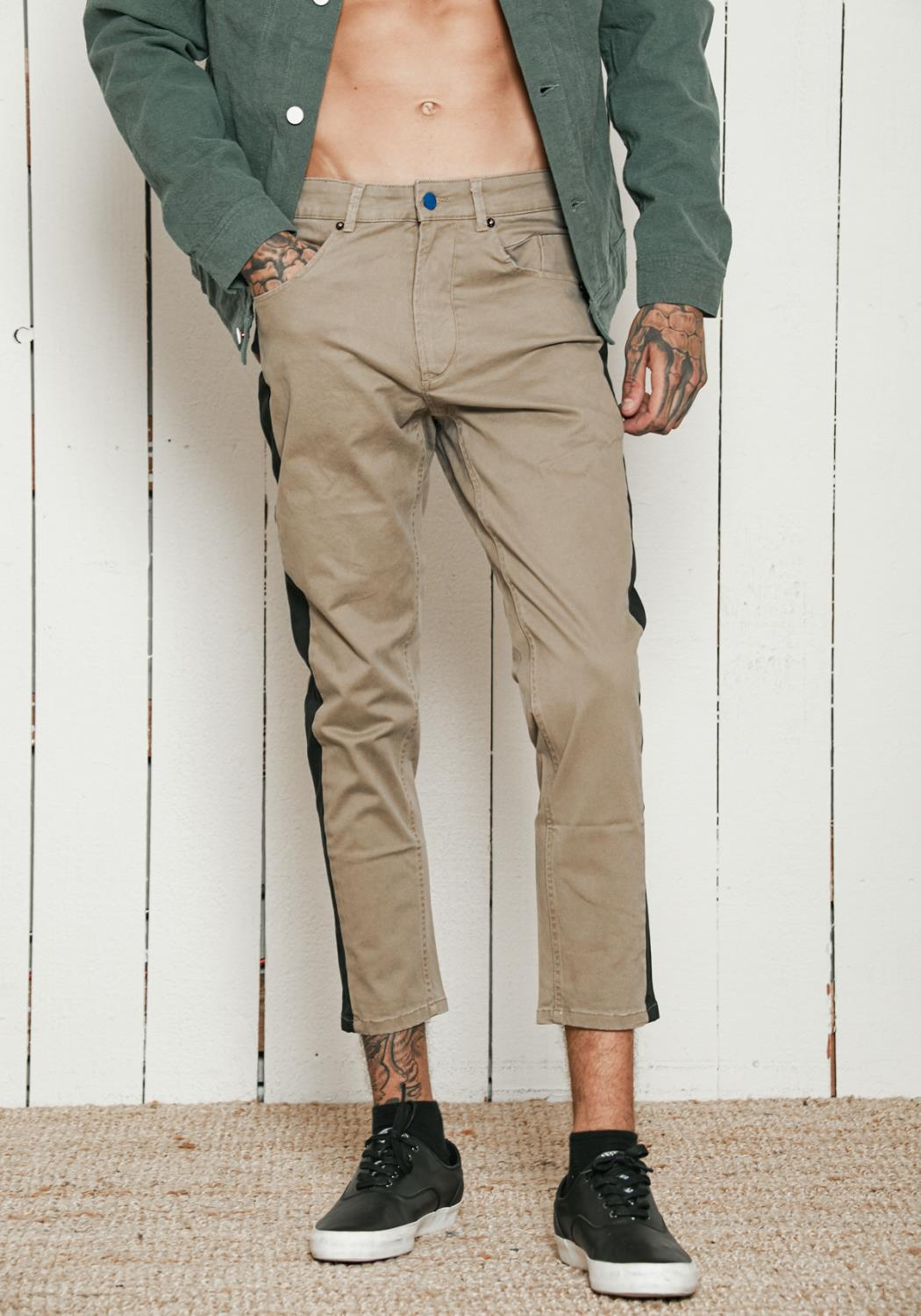 Konus Stretch Twill Cropped Pants with Side Panels
