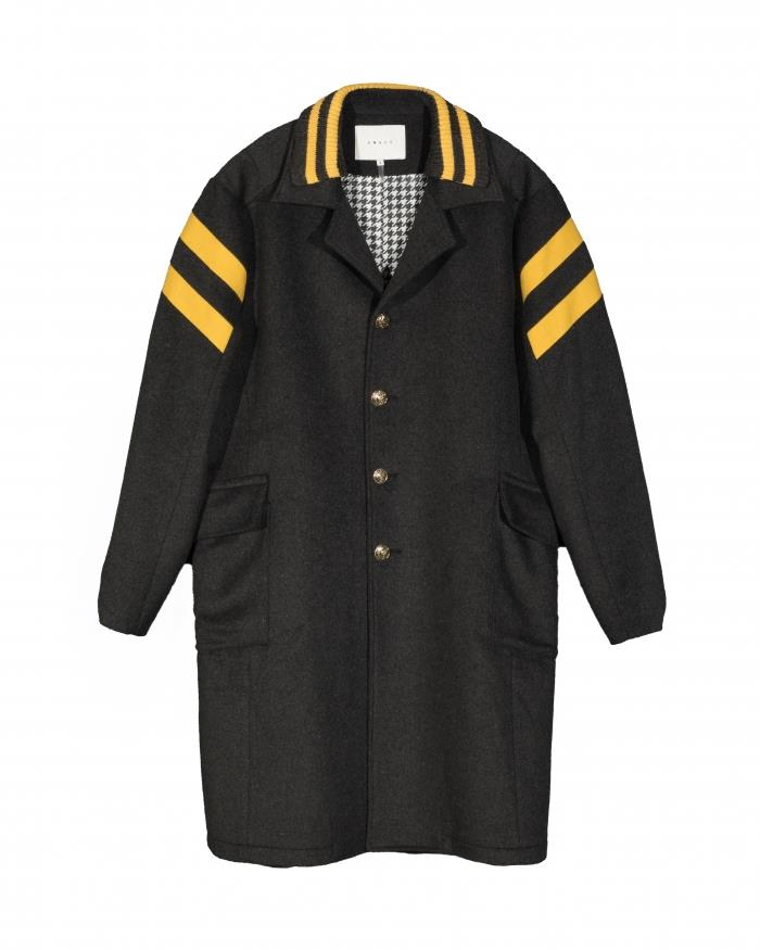 Konus Wool Blend Coat with Contrast Color Stripes