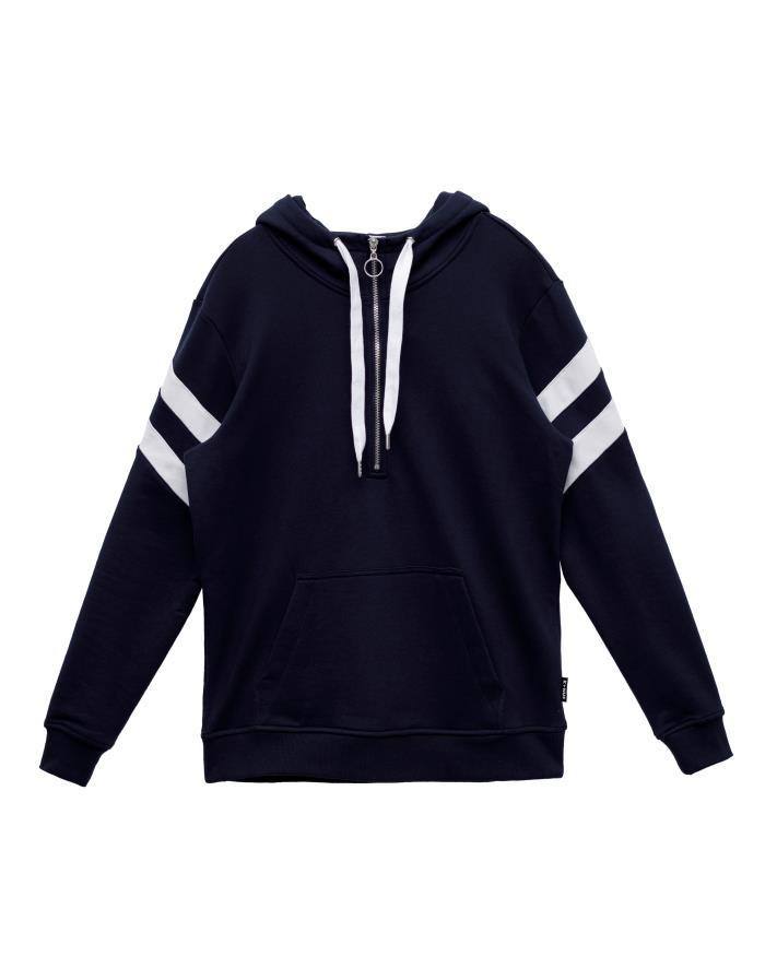 Konus Half Zip Pullover Hoodie with Contrast Color Stripes