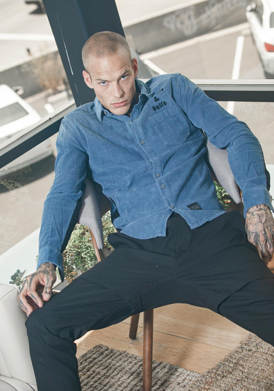 Konus Corduroy Button Up Shirt with Elbow Detail