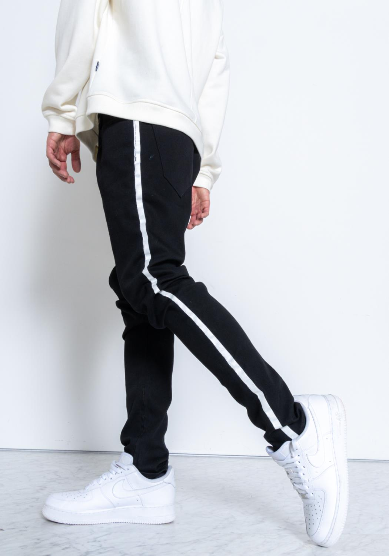 Konus S2 Zipper Jeans in Black with Side Stripe