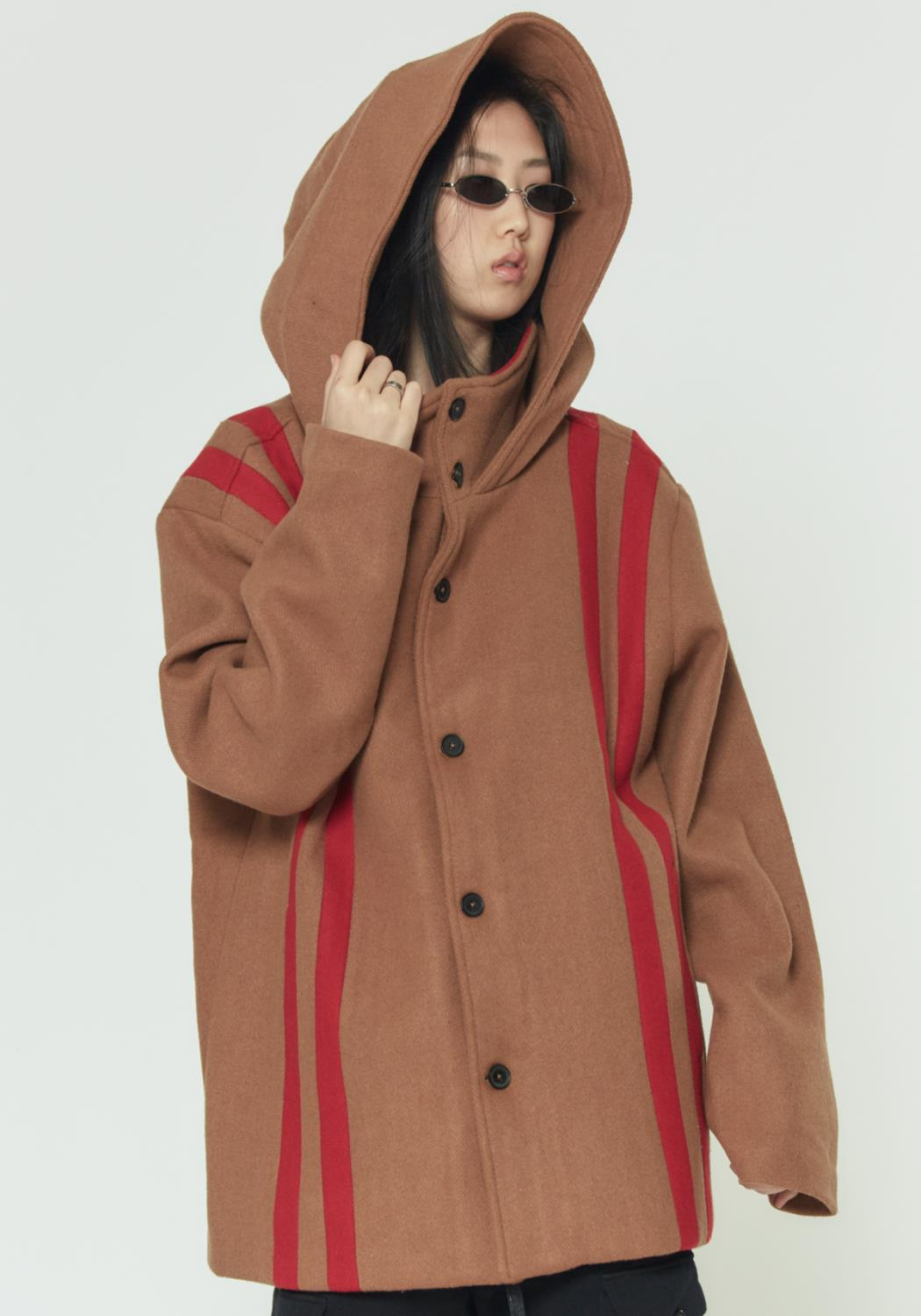Mens Konus Oversized Wool Hooded Coat