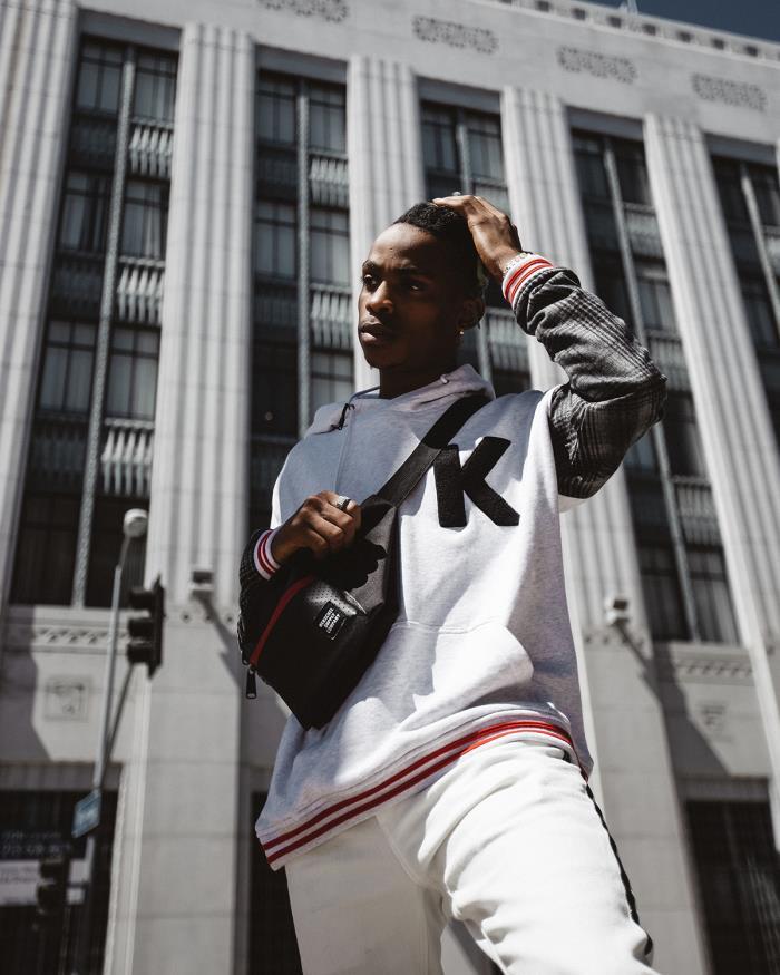 Konus Chenille K Logo Oversized Hoodie with Plaid Sleeves