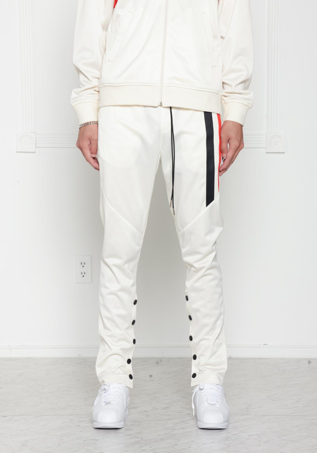 Blank State Mens Snap Button Track Pants in Off White