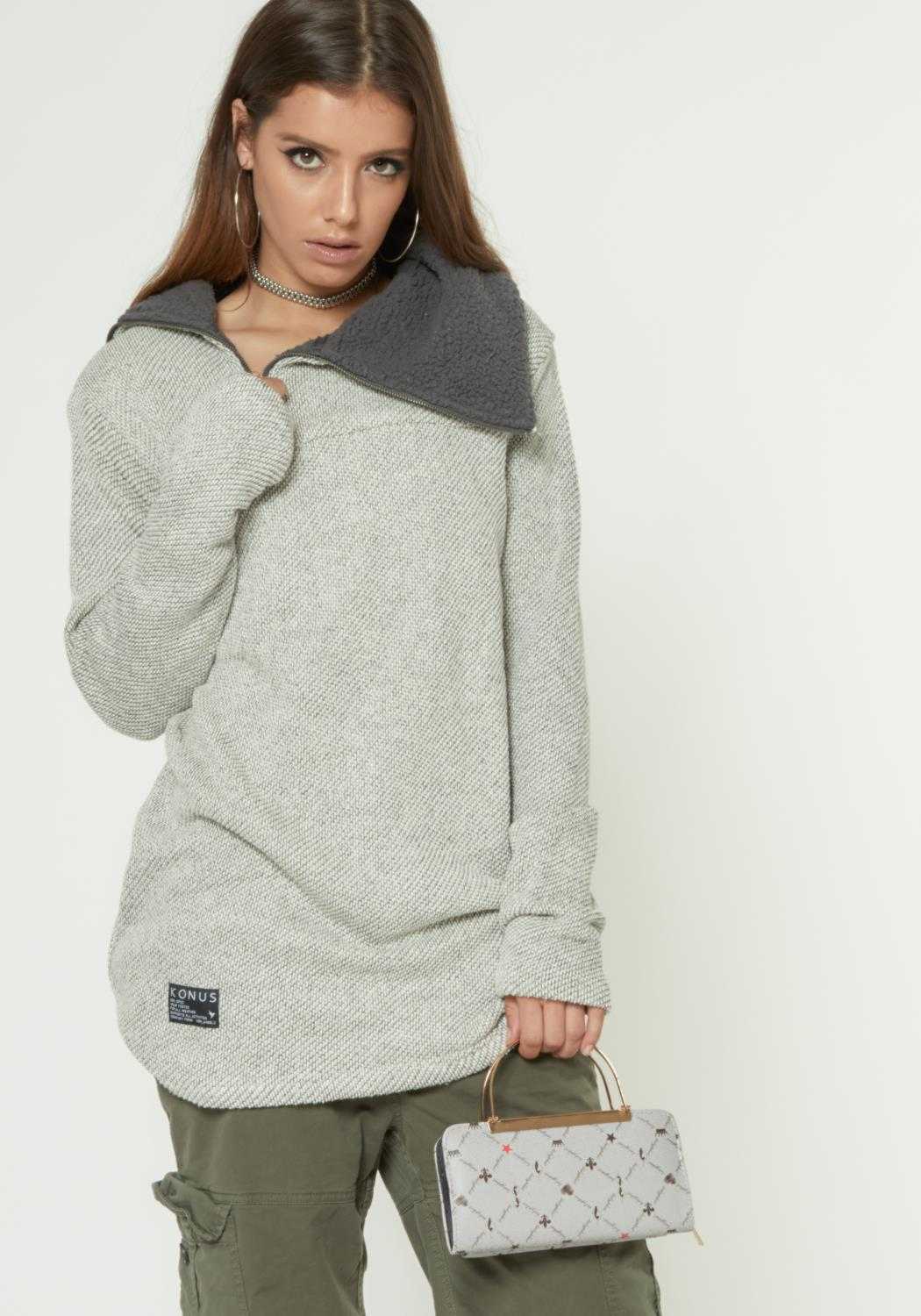 HEAVY TERRY MOCK NECK SWEATSHIRT