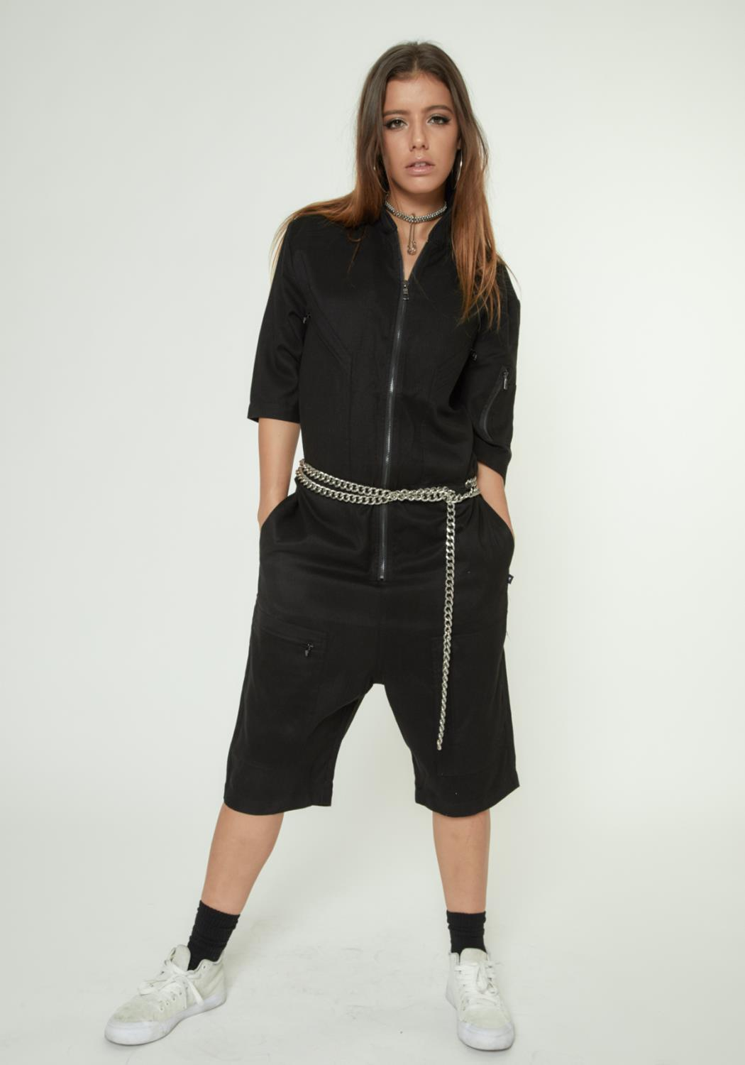 SHORT SLEEVE OVERALL WITH ZIPPER POCKETS