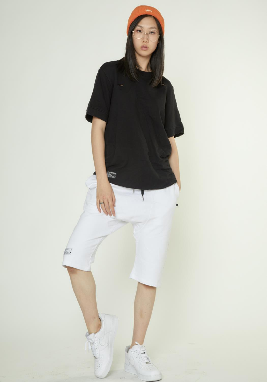 FRENCH TERRY SHORT SLEEVE TEE WITH GRINDING