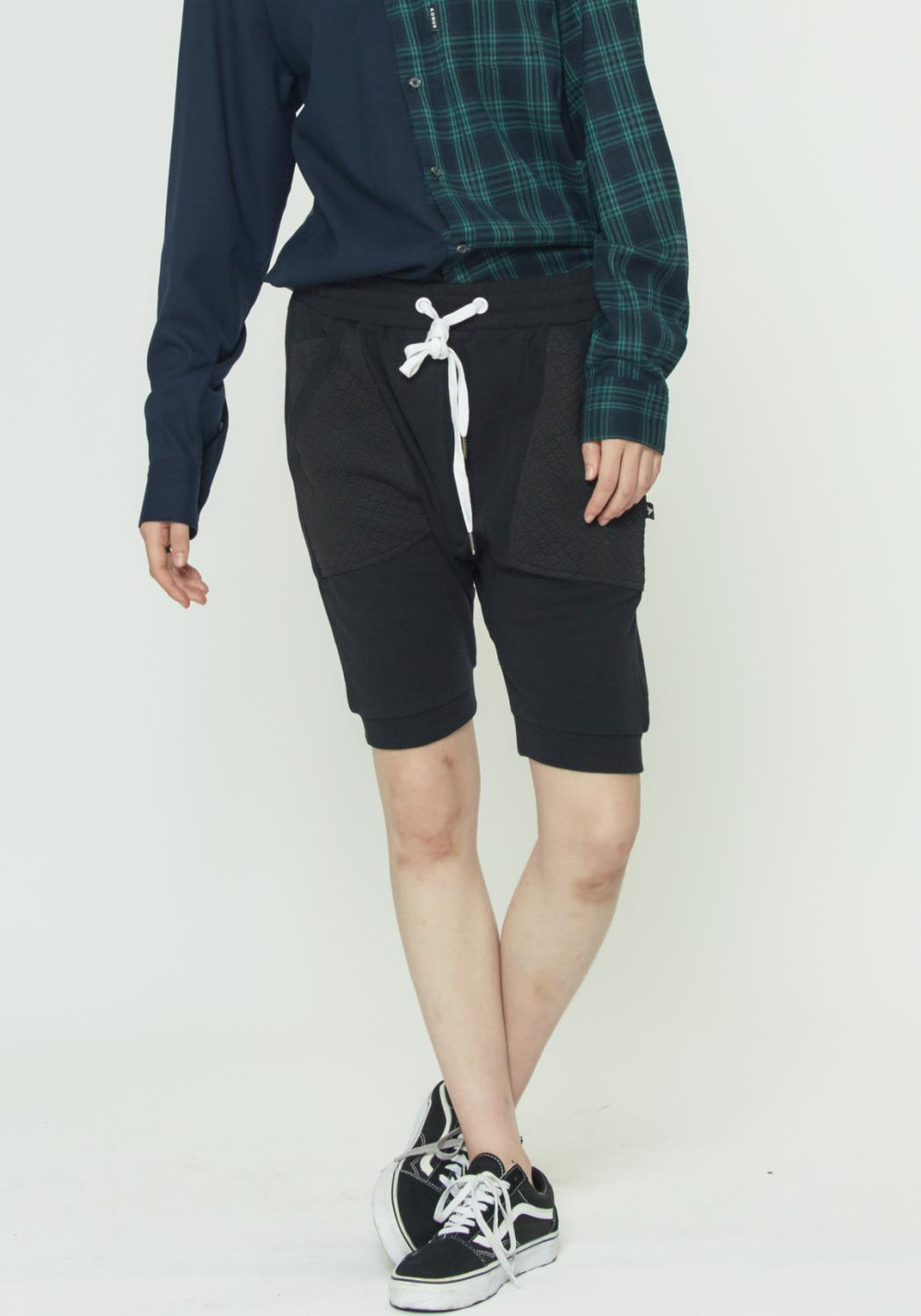 DROP CROTCH SHORTS CONTRAST POCKETS