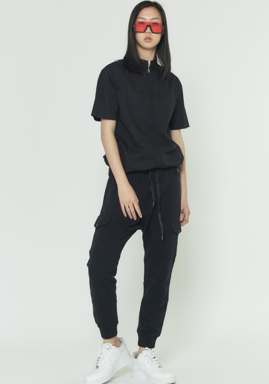 MENS DROP CROTCH SWEATPANTS WITH CARGO POCKETS