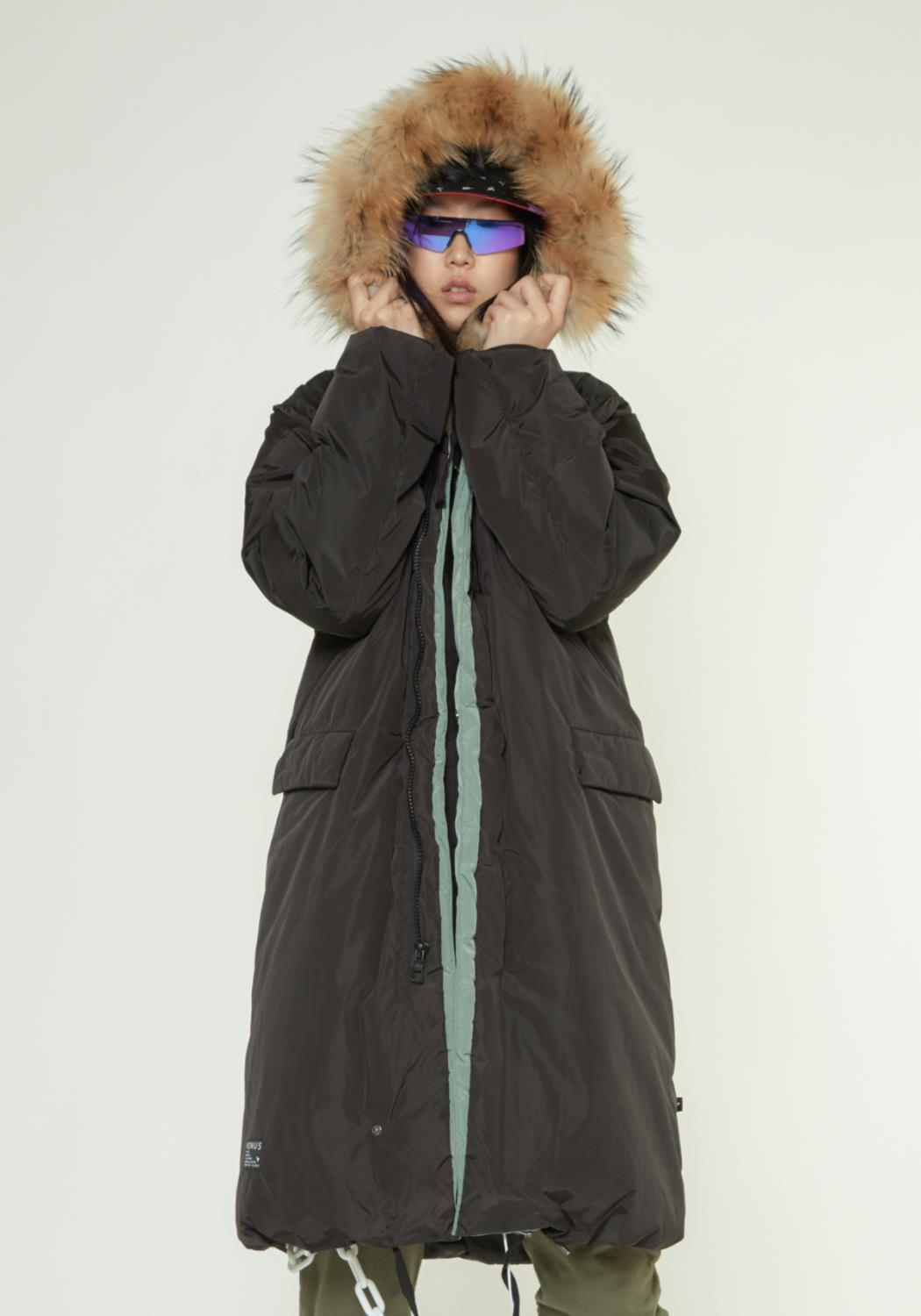 MENS LONG DUCK DOWN HOODED PARKA WITH FUR
