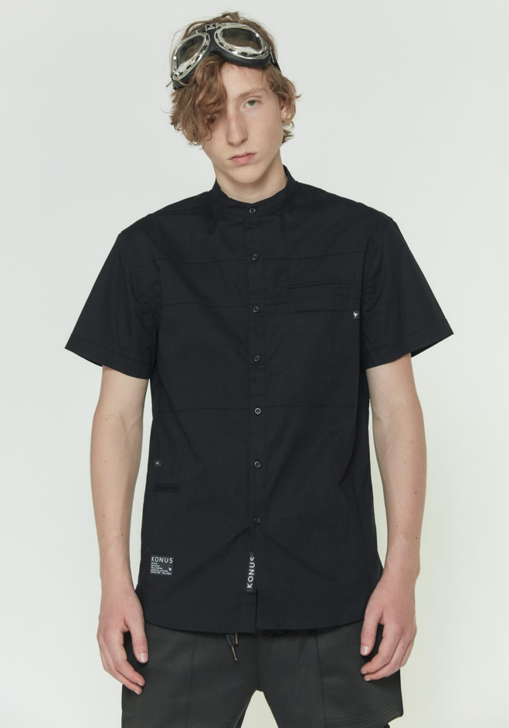 Konus Short Sleeve Band Collar Shirt with Panels