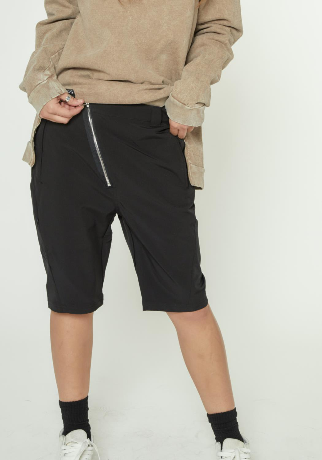 SHORTS WITH ASYMMETRICAL ZIPPER FLY