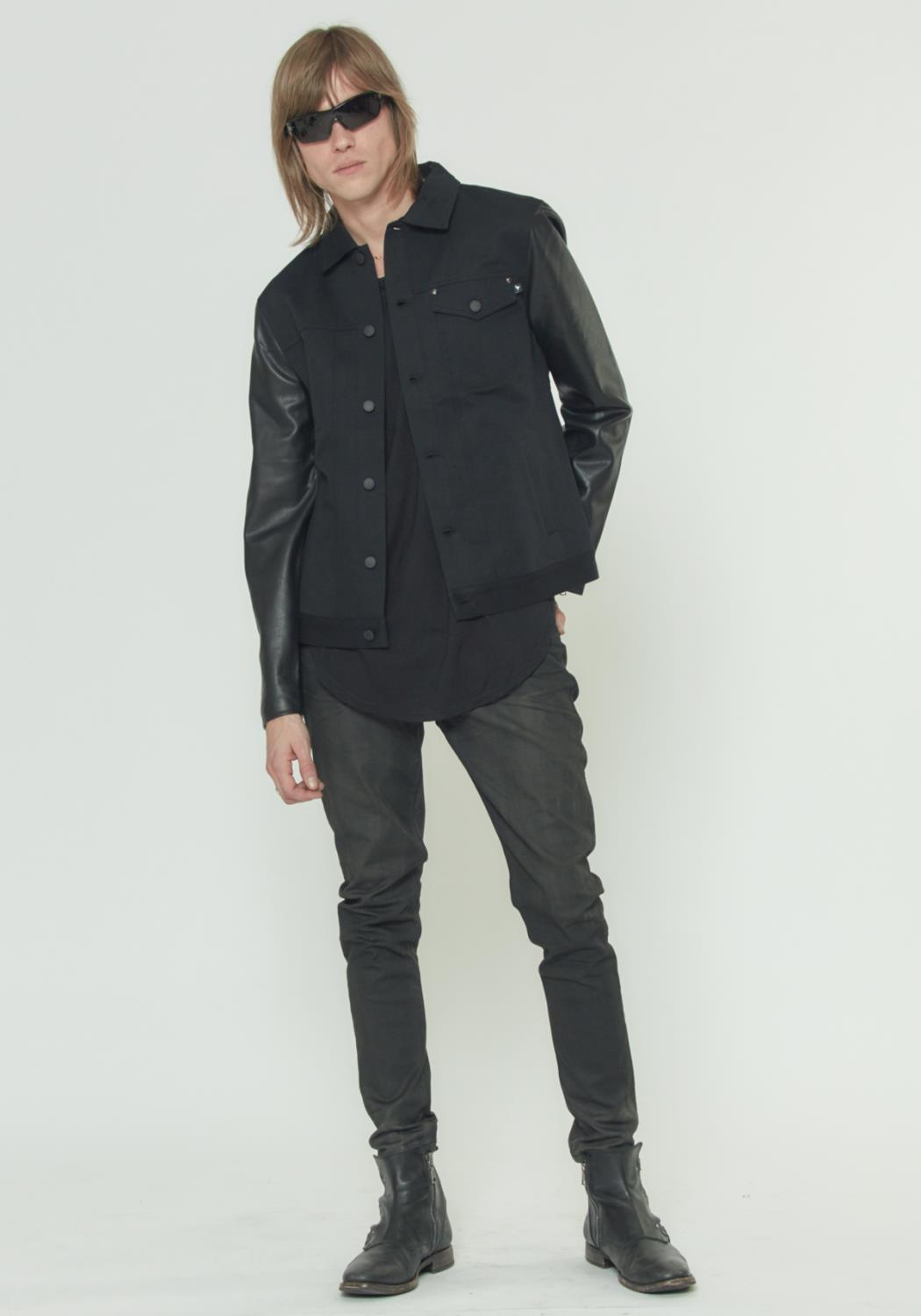 TRUCKER JACKET WITH FAUX LEATHER SLEEVES