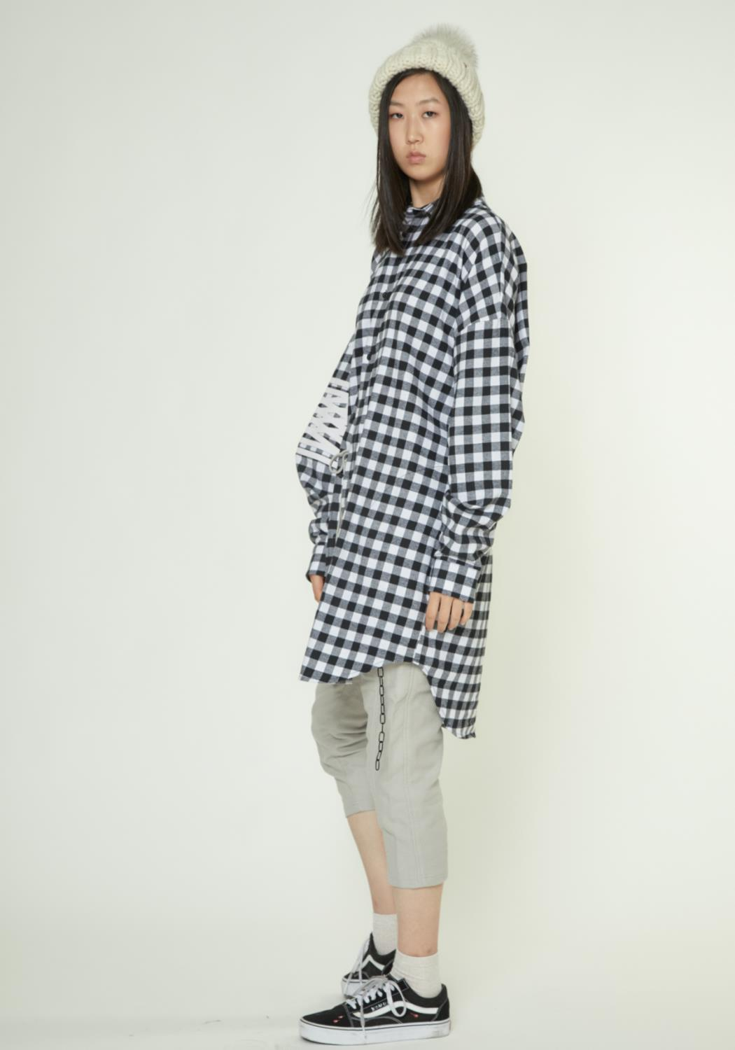LONG FLANNEL SHIRT WITH FAUX LEATHER ART