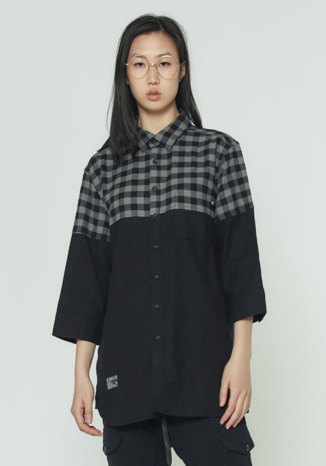 HALF SLEEVE BUTTON UP SHIRT IN MIXED FABRIC