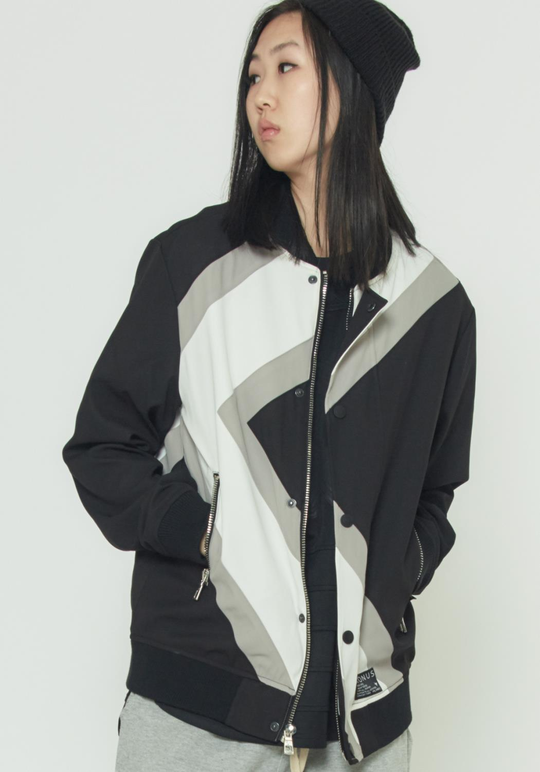MENS BOMBER JACKET WITH GEOMETRIC PANELS