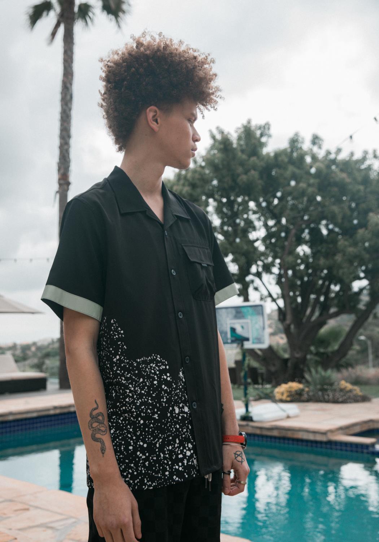 Konus Mens Open Collar Button Up Shirt