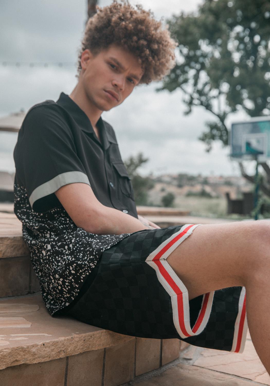 Konus Mens Black Tonal Checker Shorts with Tape