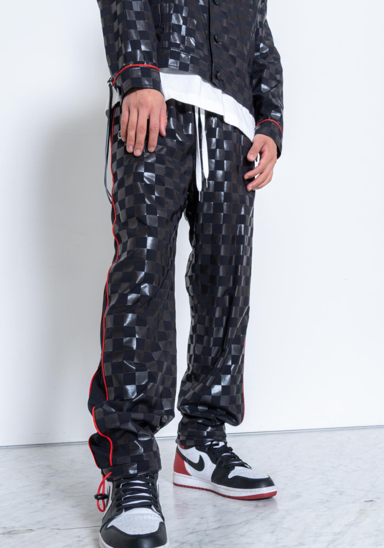 Konus Mens Checker Print Swishy Pants / F1