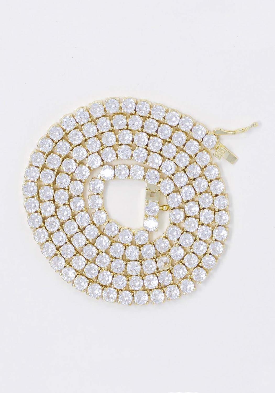 Golden Gilt Tennis Chains Necklace