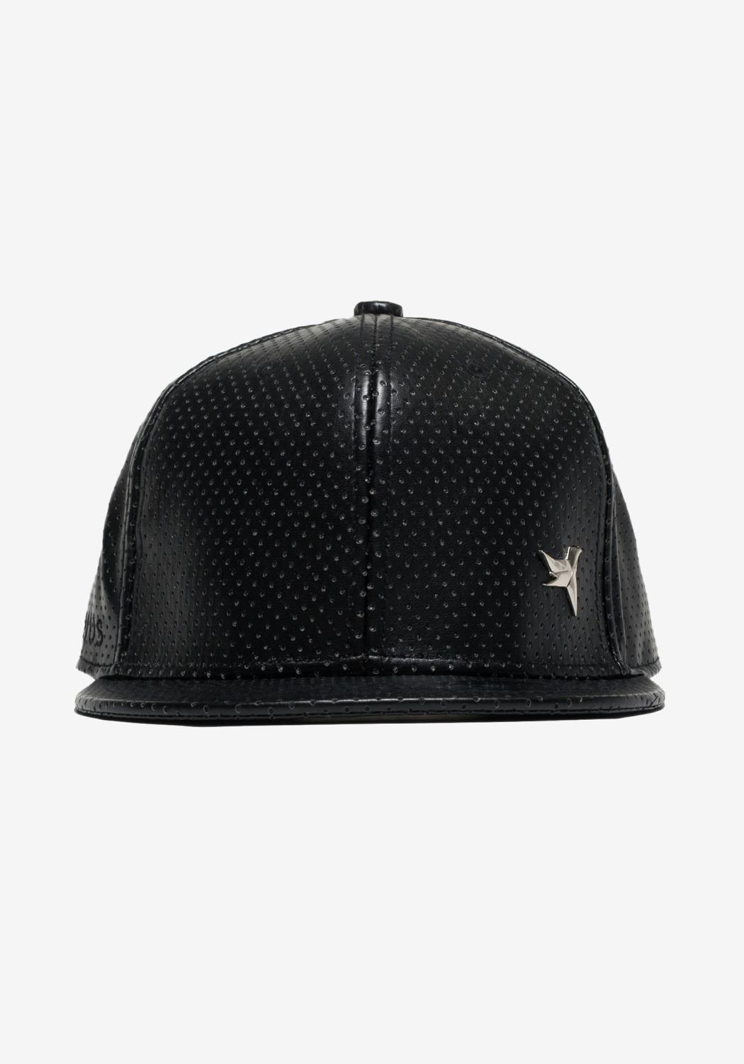 Perforated Pleather Snap Back with Bird logo