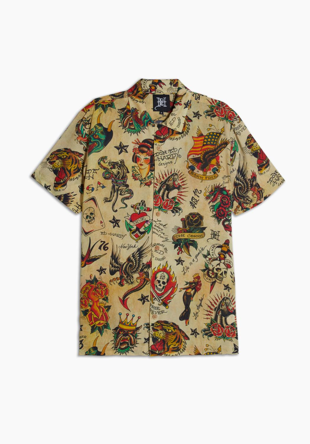 Ed Hardy Printed Camp SS Shirt