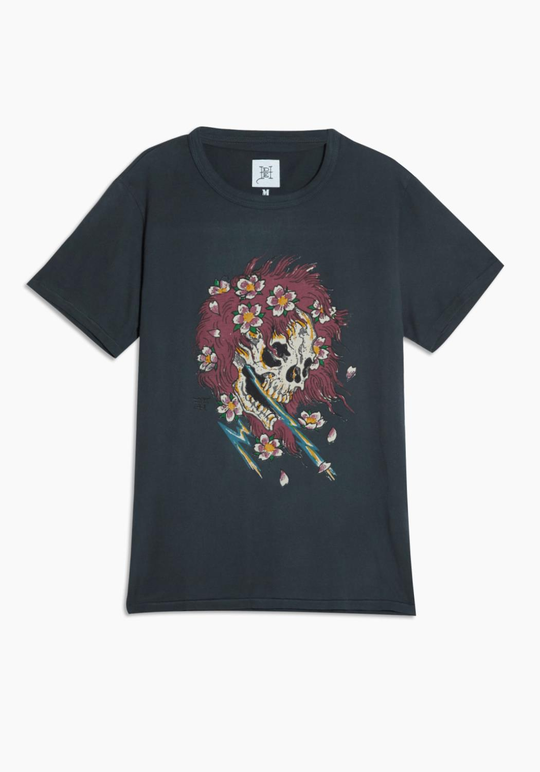 Ed Hardy Red Haired Skull Tee in Vintage Charcoal