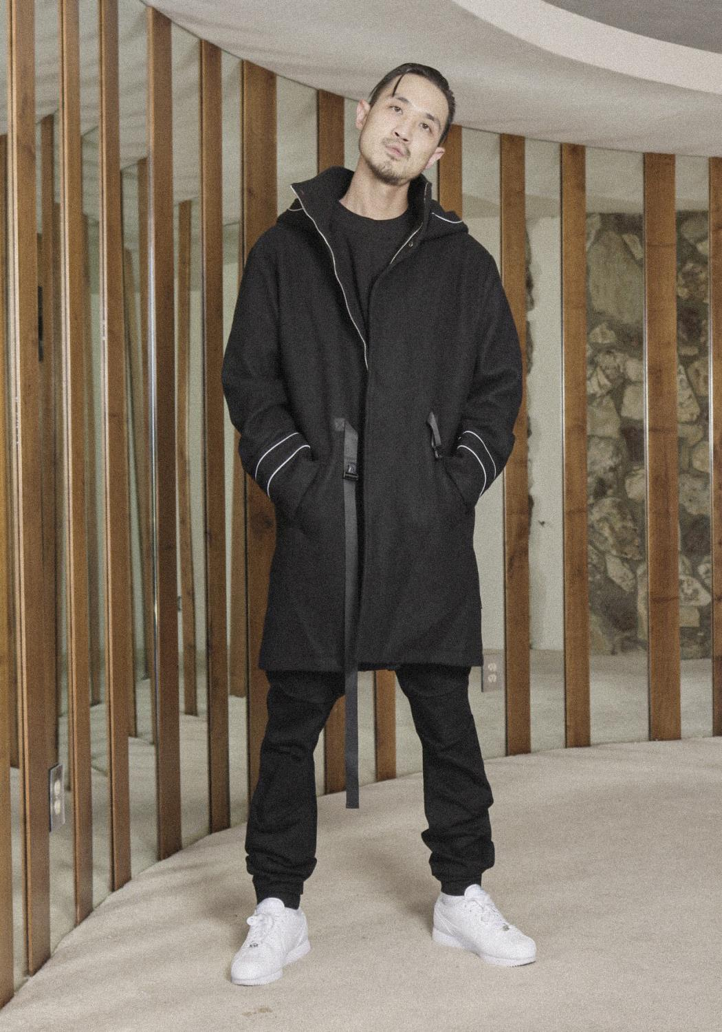 Hooded Wool Blend Coat with Reflective Piping
