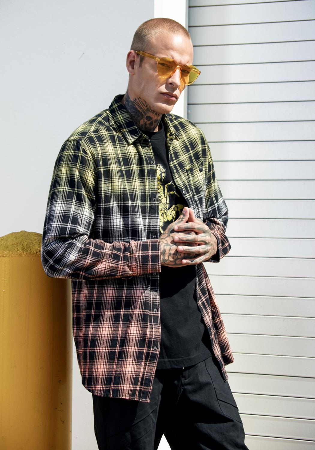 Mens Double Dip Ombre Flannel Shirt