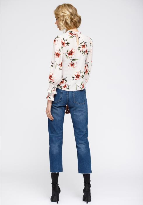 Nurode Rust flower Mockneck Smocked sleeve Blouse Women Clothing