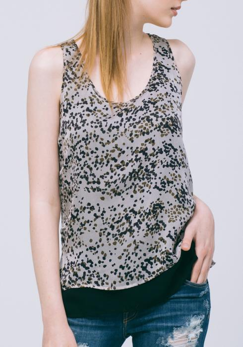 Printed Layered Hem Silk Top (100% Silk)