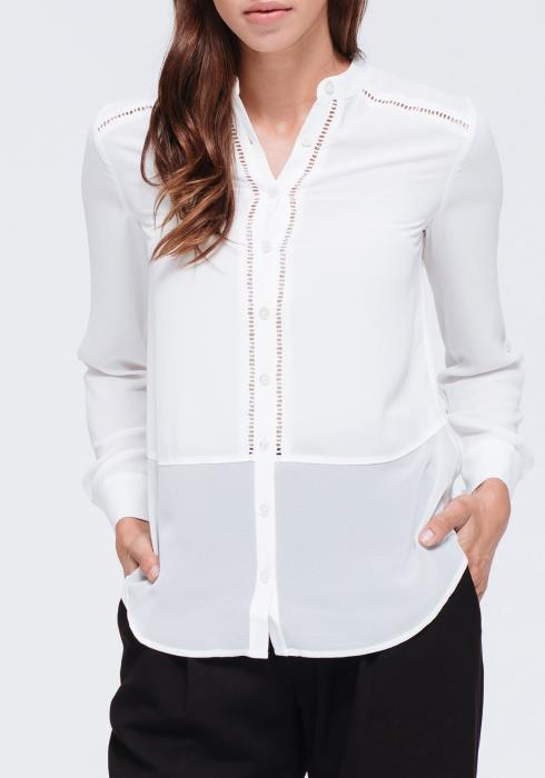 Button Up Lace Trim Blouse