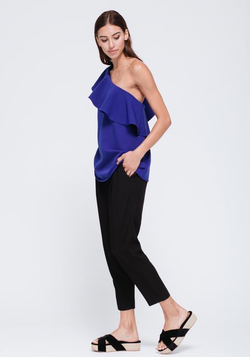 Asymmetrical One Shoulder Top With Bust Ruffle
