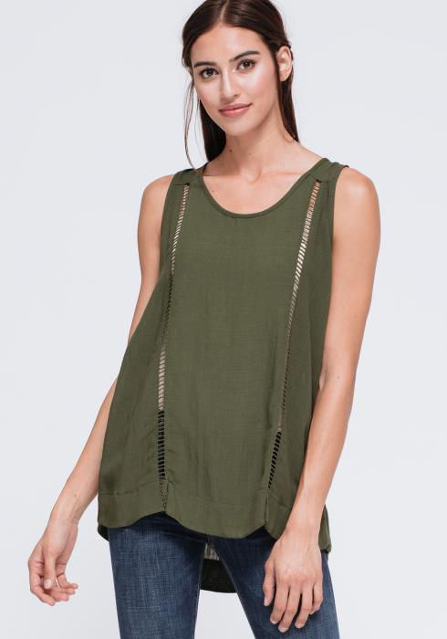 Stitching Wide Hem Tank Top
